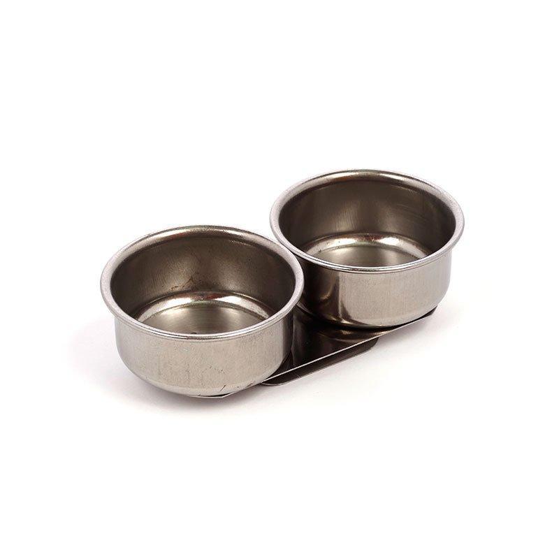 Масленка двойная, диаметр 4 см, высота 2 см, металлическая