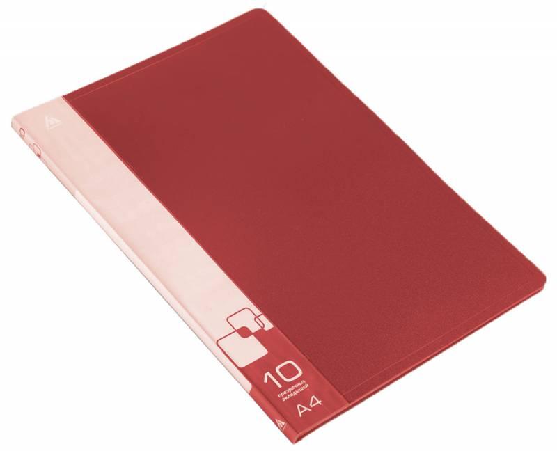 Папка  10 вклад. 0,6мм красная