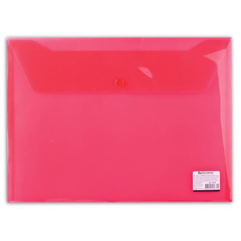 Папка конверт на кнопке Brauberg А4 0,15мм прозр. красная