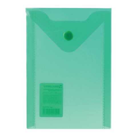 Папка конверт на кнопке Brauberg А6 0,18мм прозр. зеленая