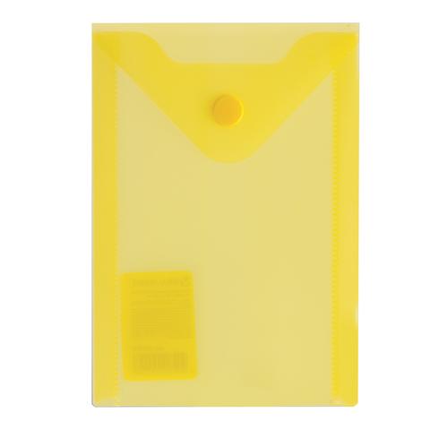 Папка конверт на кнопке Brauberg А6 0,18мм прозр. желтая