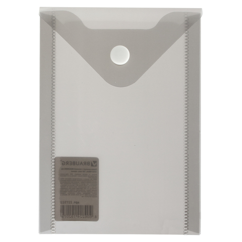 Папка конверт на кнопке Brauberg А6 0,18мм прозр. черная