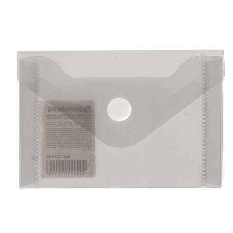 Папка конверт на кнопке Brauberg А7 74*105мм черная