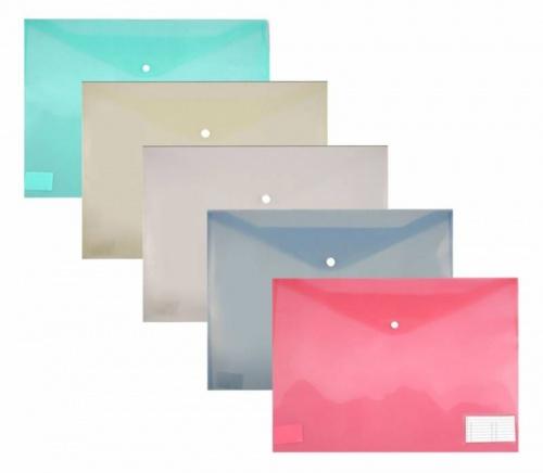 Папка конверт на кнопке Бюрократ А3 0,18мм карман д/визиток ассорти