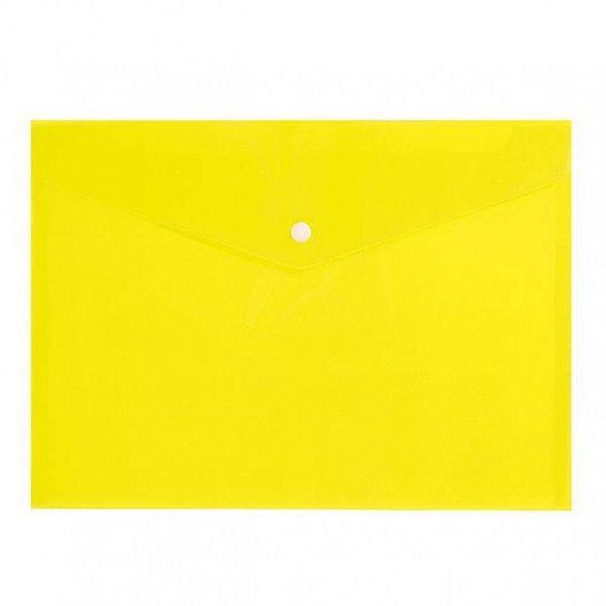 Папка конверт на кнопке Бюрократ А4 0,18мм  непрозр. желтая