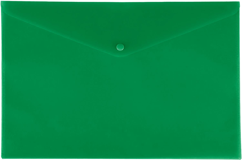 Папка конверт на кнопке Бюрократ А4 0,18мм  непрозр. зеленая