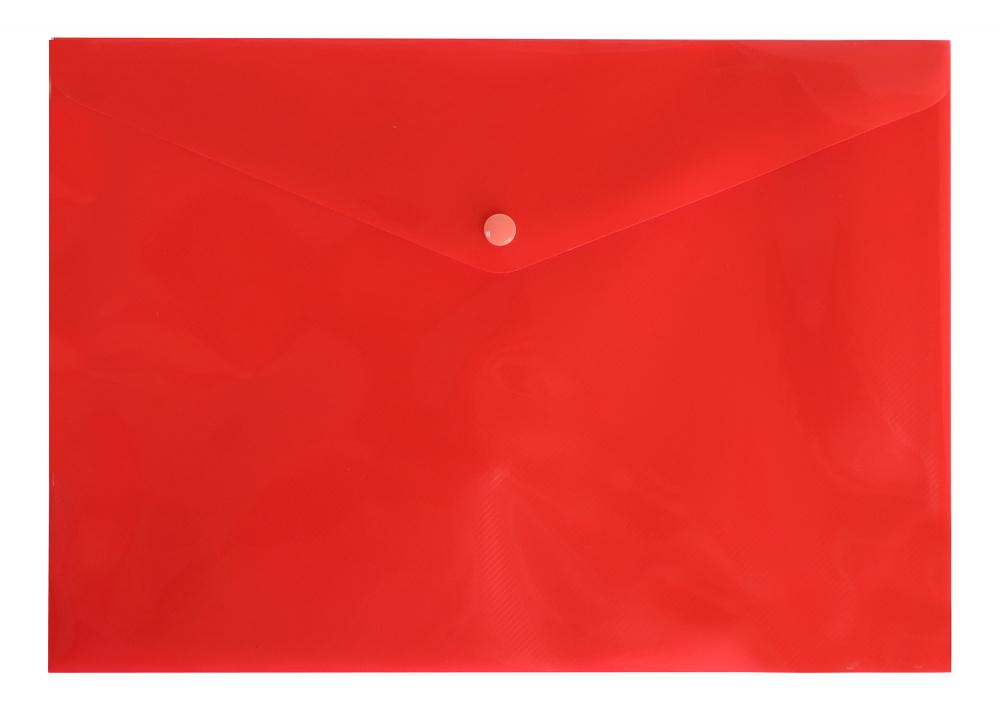 Папка конверт на кнопке Бюрократ А4 0,18мм  непрозр. красная