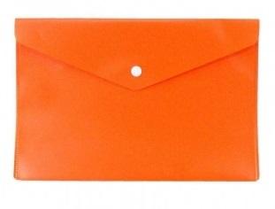 Папка конверт на кнопке Бюрократ А4 0,18мм  непрозр. оранж.