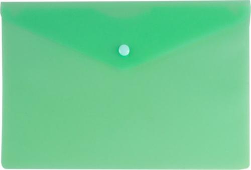 Папка конверт на кнопке Бюрократ А5 0,18мм зеленая