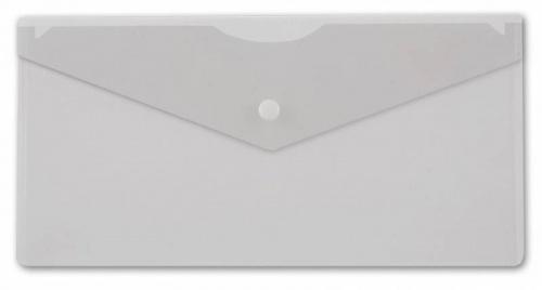 Папка конверт на кнопке Бюрократ А5+ (250*130мм) 0,18мм прозрачная