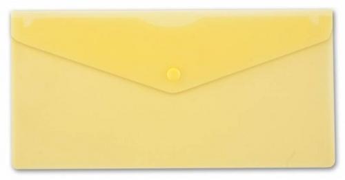 Папка конверт на кнопке Бюрократ А5+ (250*130мм) 0,18мм желт.