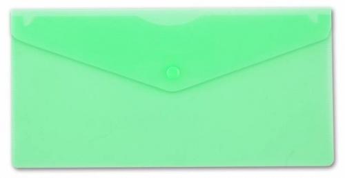 Папка конверт на кнопке Бюрократ А5+ (250*130мм) 0,18мм зел.