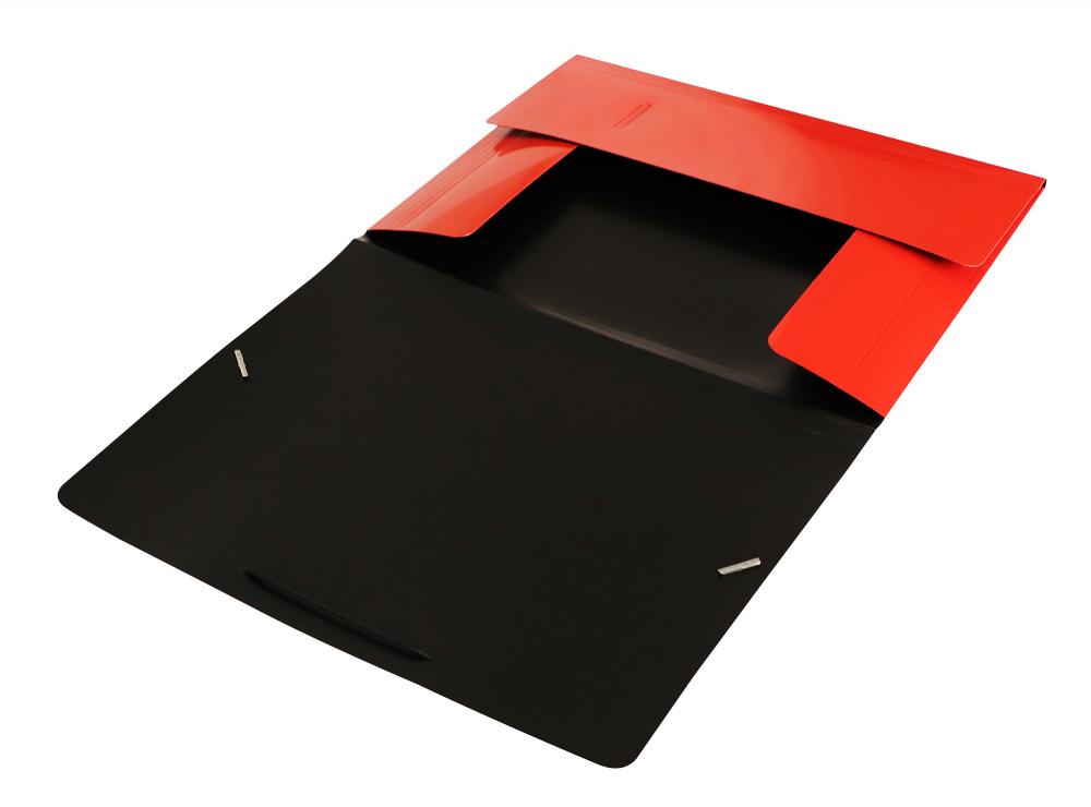 Папка на резинках Бюрократ А4 DeLuxe 0,7мм красная
