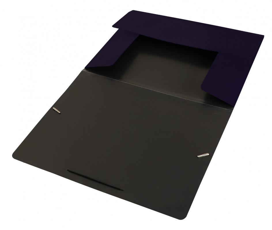 Папка на резинках Бюрократ А4 DeLuxe 0,7мм черничная