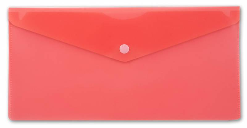 Папка конверт на кнопке Бюрократ А5+ (250*130мм) 0,18мм красн.