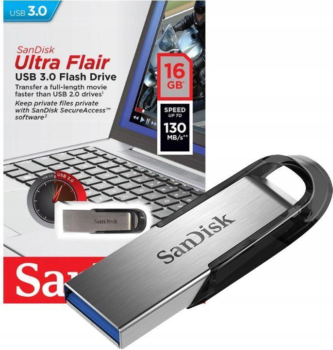 Флэш-диск Sandisk 16GB Cruzer Ultra Flair серебристый/черный