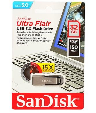 Флэш-диск Sandisk 32GB Cruzer Ultra Flair серебристый/черный