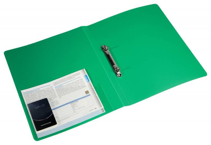 Папка на 2х кольцах 27мм 0,7мм с карм. зеленая