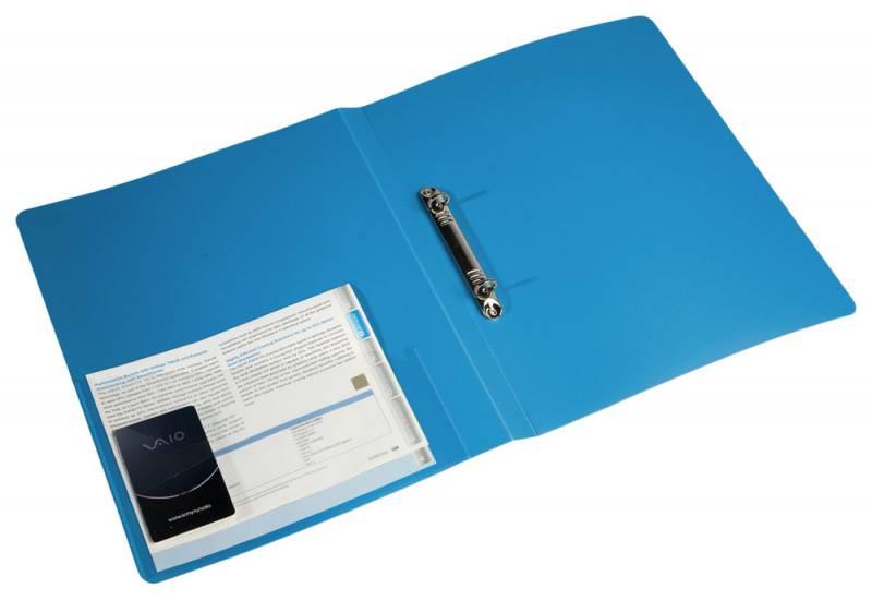 Папка на 2х кольцах 27мм 0,7мм с карм. синяя
