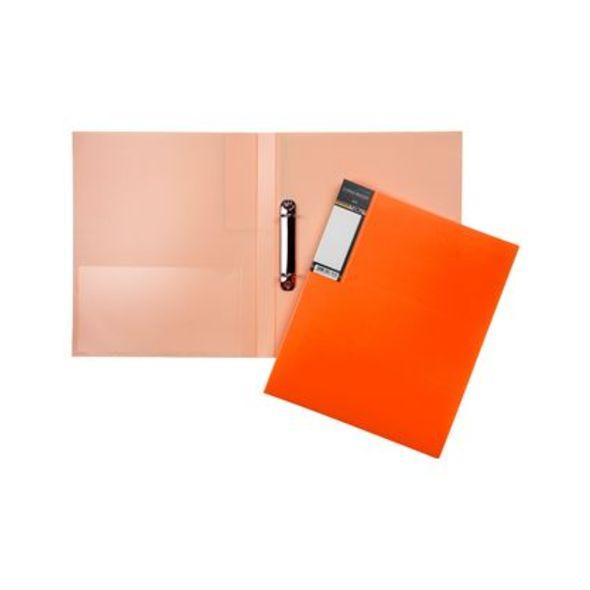 Папка на 2х кольцах Хатбер 25мм неоново-оранжевая