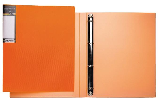Папка на 4х кольцах Хатбер 25мм неоново-оранжевая