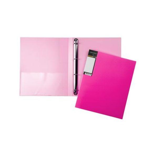 Папка на 4х кольцах Хатбер 25мм неоново-розовая