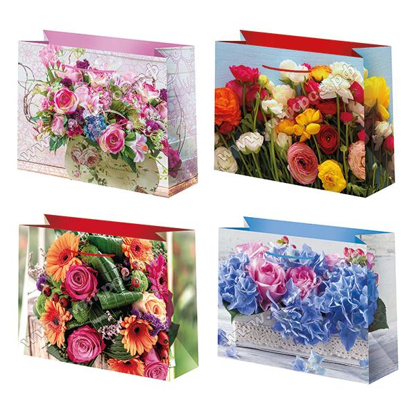 Пакет бум. 23*18см цветы матовый микс