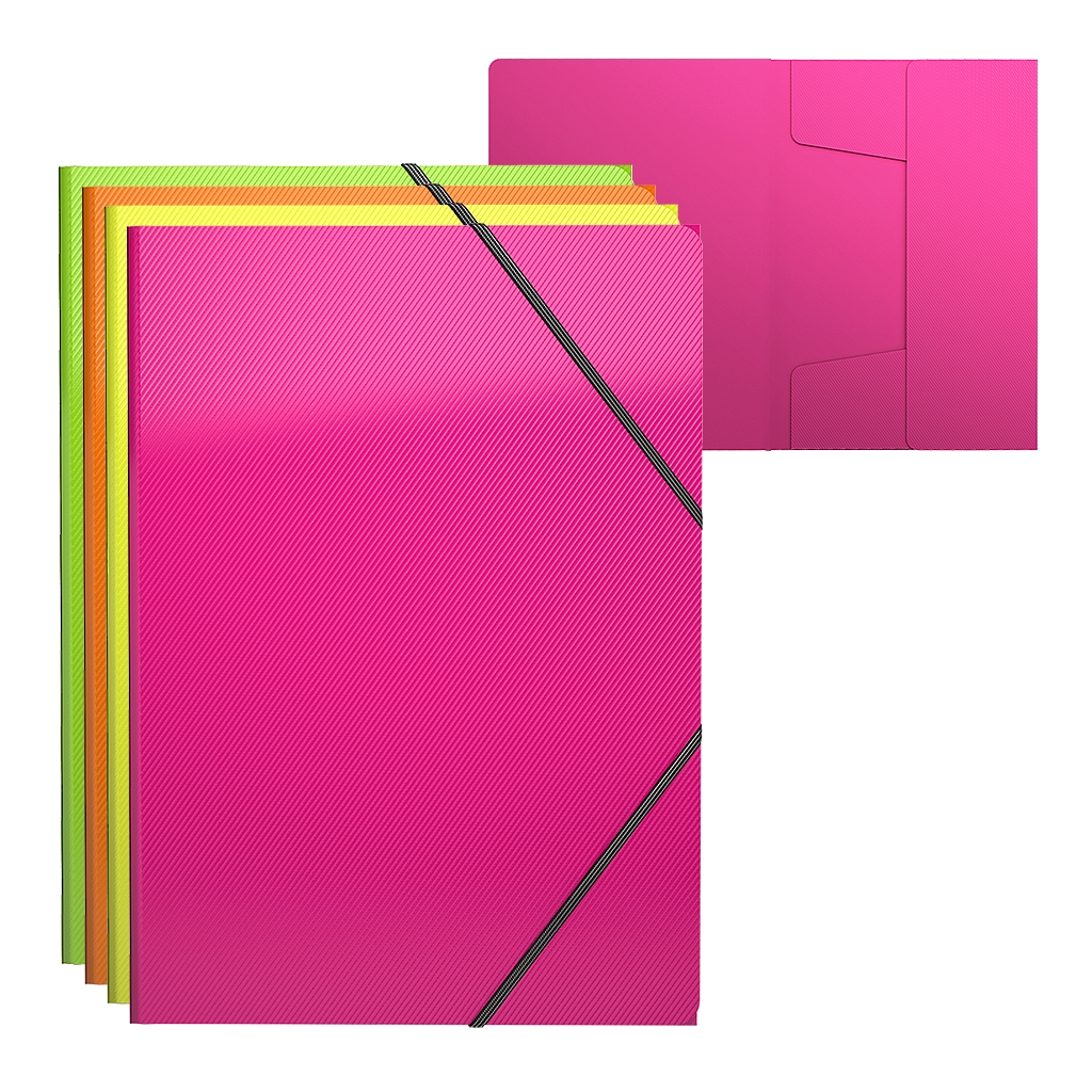 Папка на резинках ErichKrause А4 Neon на 300л ассорти