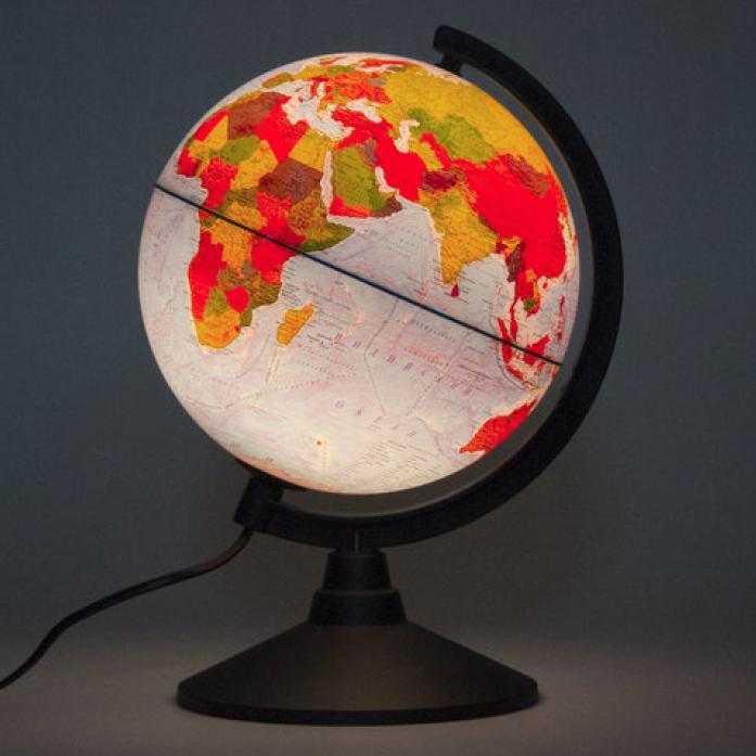 Глобус физико-политический 210мм с подсветкой