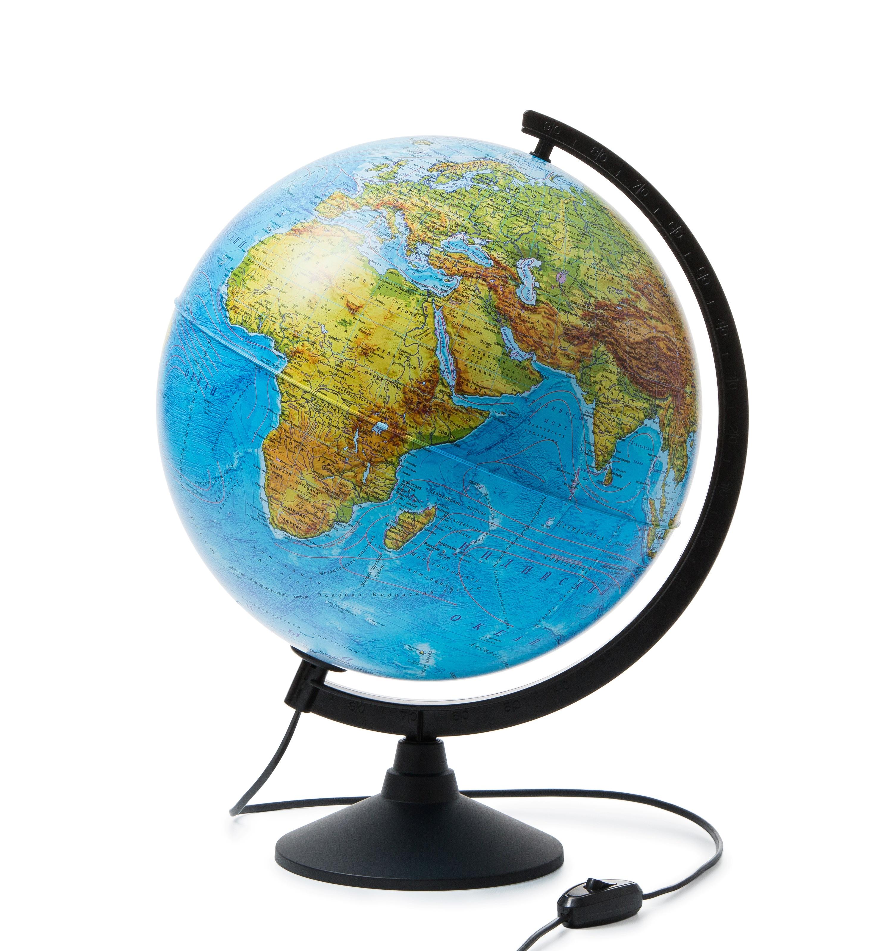 Глобус физико-политический 320мм с подсветкой
