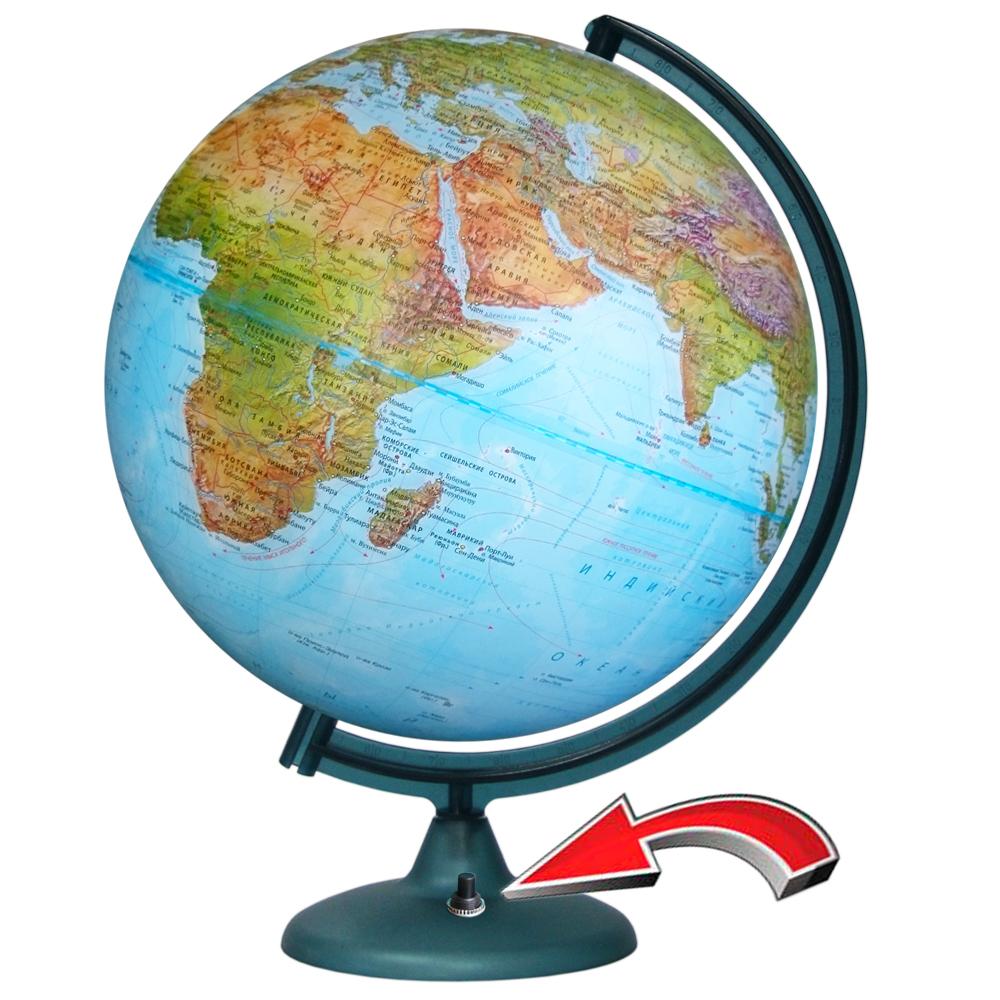 Глобус физико-политический 320мм с подсветкой на батарейках