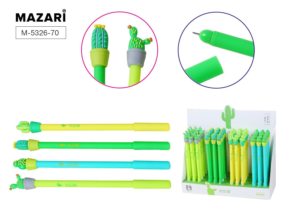 Ручка гел. Mazari Cactus mix 0,5мм игол.нак. цв. корпус син.