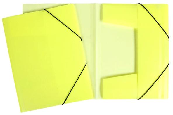 Папка на резинках Хатбер пласт. неоново-желтая