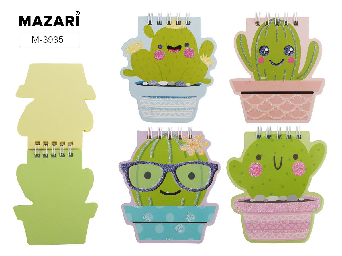 Блокнот 40л Mazari Smiling cactus 8*9,5см гр. 4 дизайна