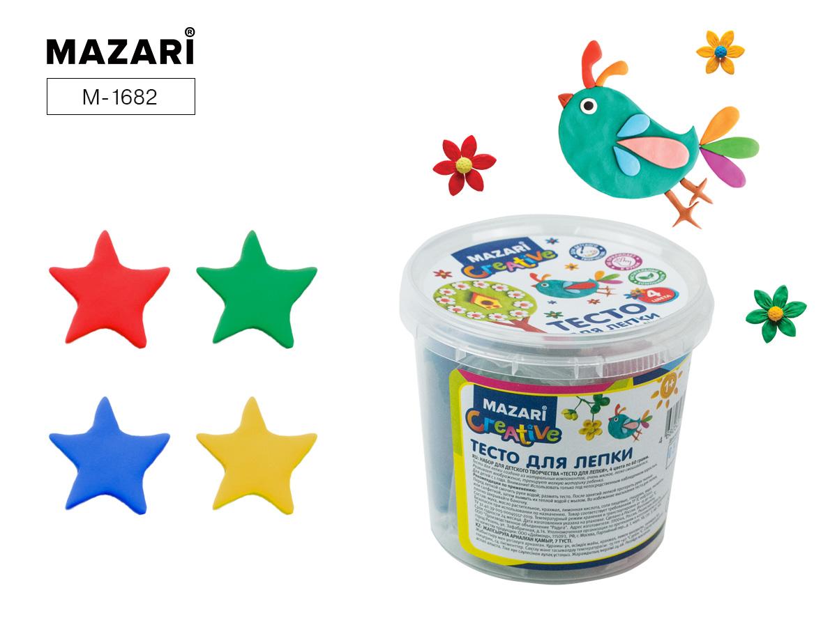Тесто для лепки Mazari 4цв. 240г пластиковое ведро