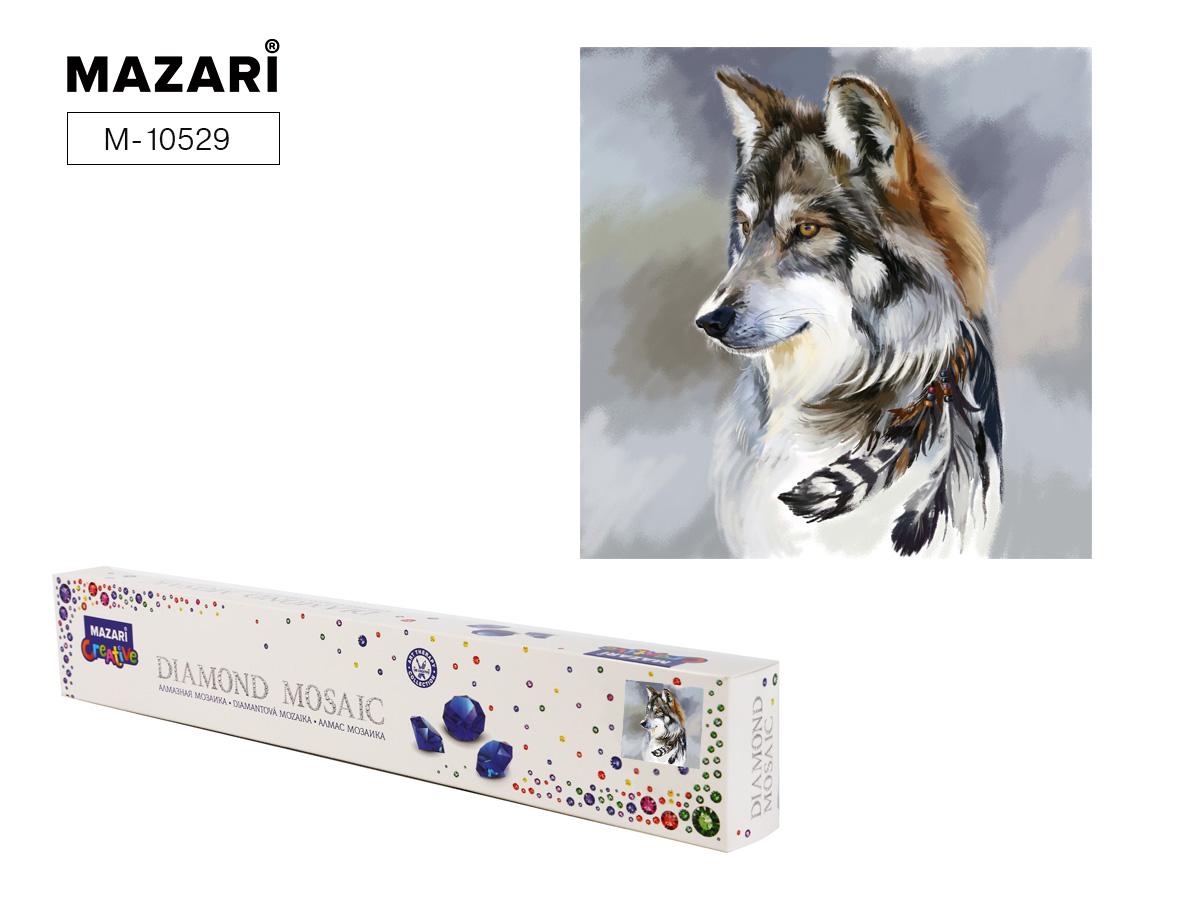 Алмазная мозаика 30*30см Волк с перьями частичная выкладка