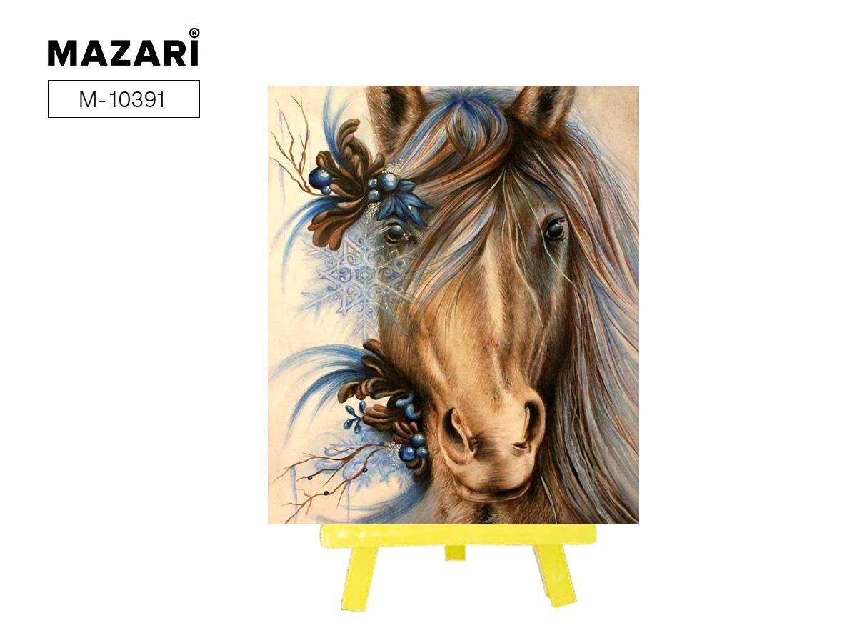 Алмазная мозаика с мольбертом 21*25см Арт-лошадь
