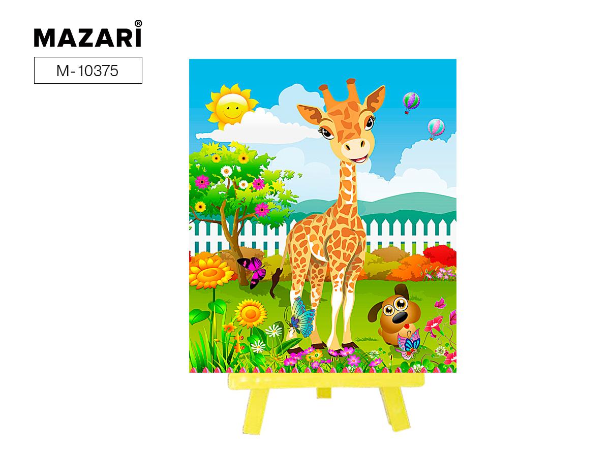 Алмазная мозаика с мольбертом 21*25см Жираф в саду