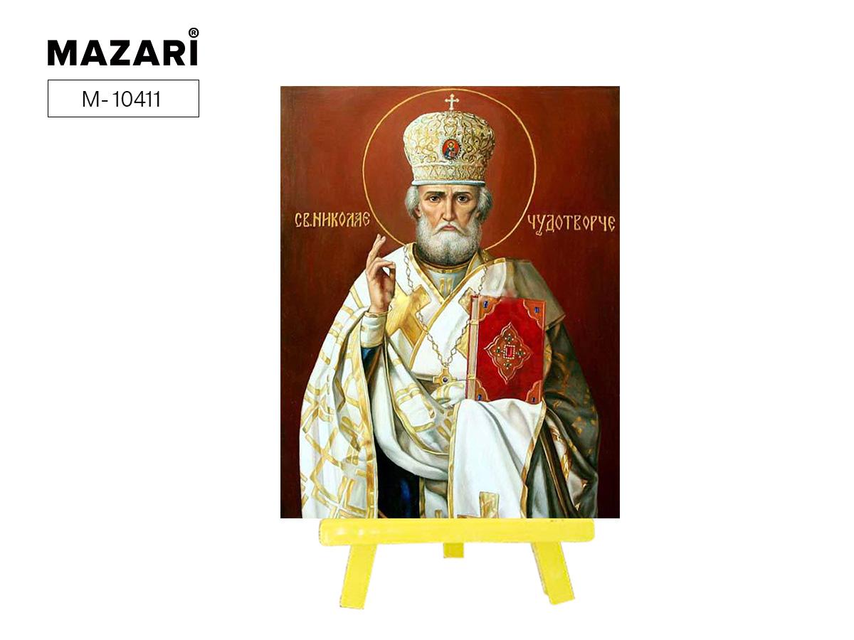 Алмазная мозаика с мольбертом 21*25см Святой Николай