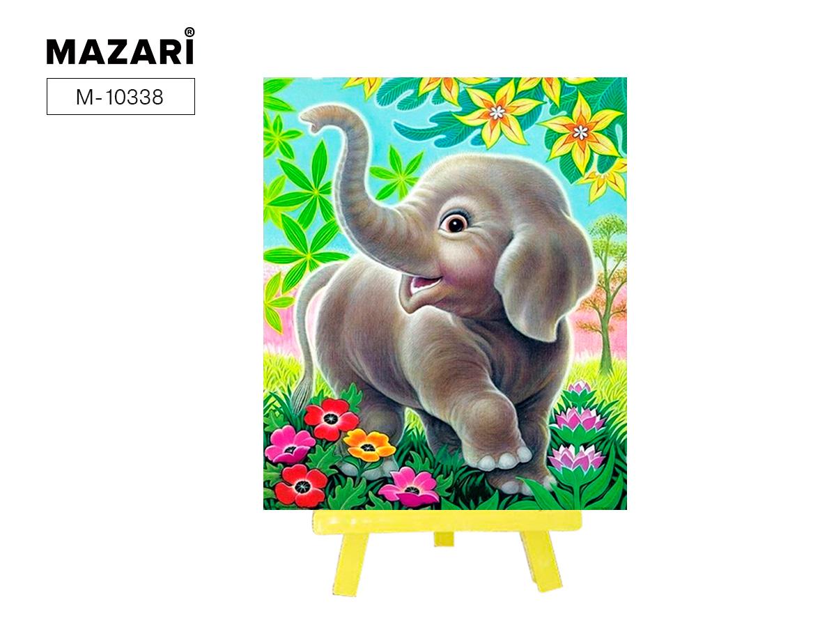 Алмазная мозаика с мольбертом 21*25см Слон в саду