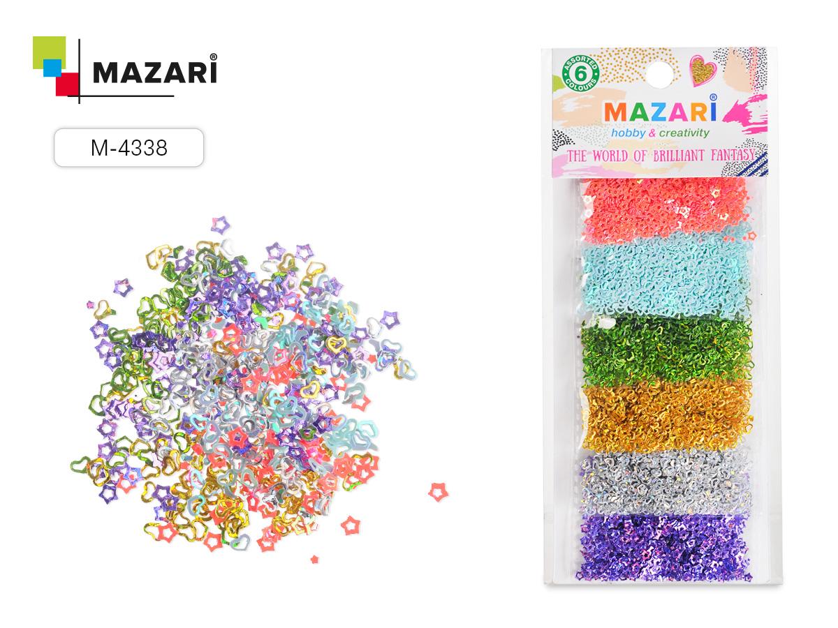 Набор блестки Mazari 6цв.х3 г №1 конфетти европодвес