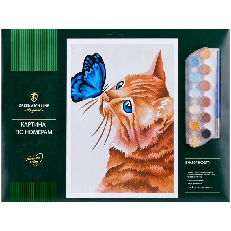Картина по номерам А3 Кот и бабочка акриловые краски