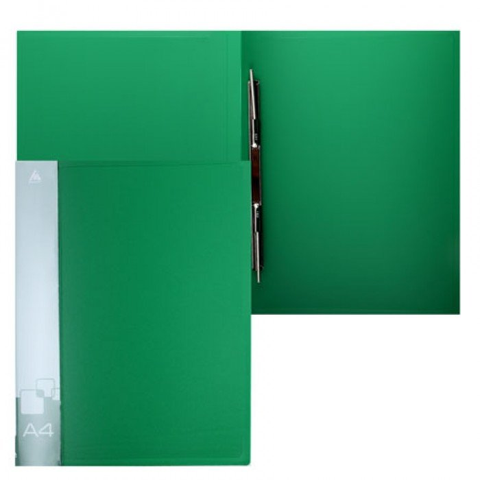 Папка с мет.скоросш.+вн.карм. 0,7мм зеленая