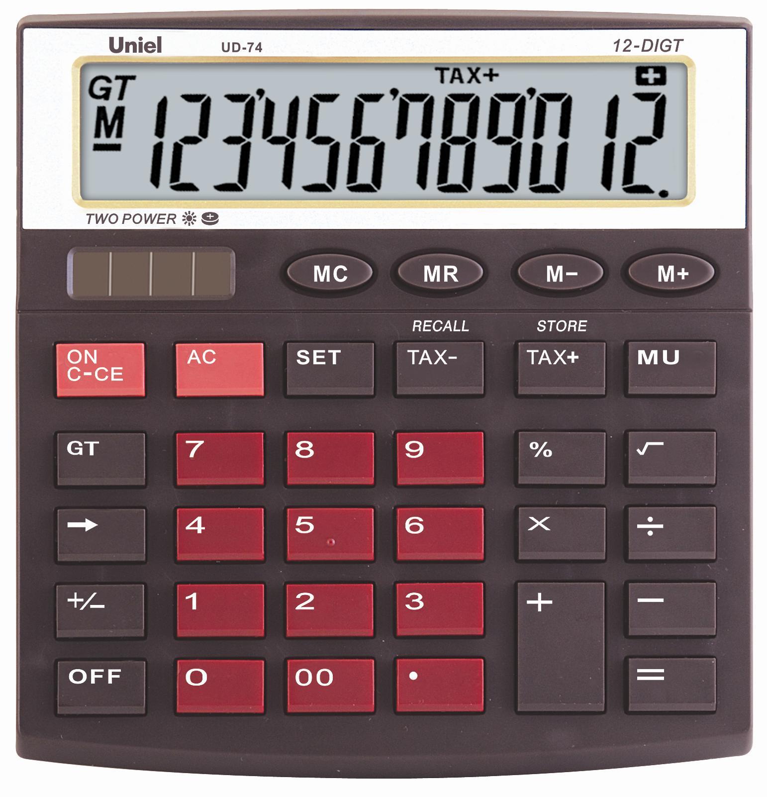 Калькулятор наст. Uniel UD-74BR 12-разр. 133*128мм красно-коричневый