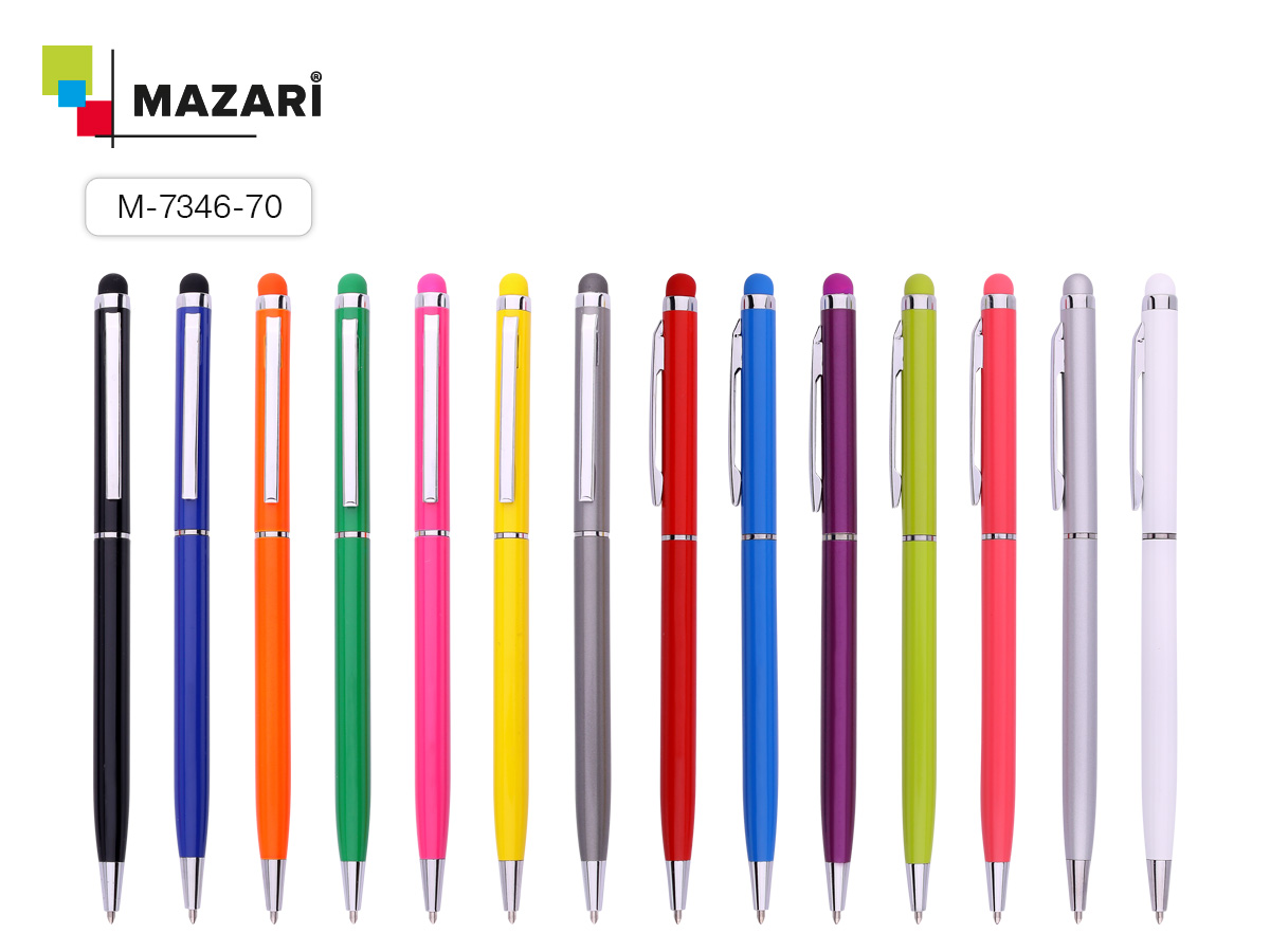 Ручка Mazari поворот. мех. Slim 1,0мм синяя