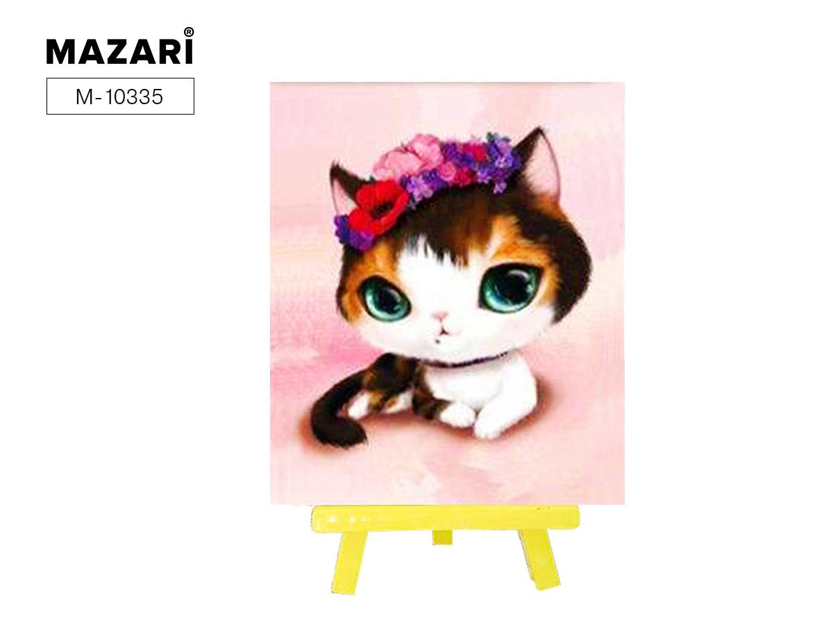 Алмазная мозаика с мольбертом 21*25см Зеленоглазый кот