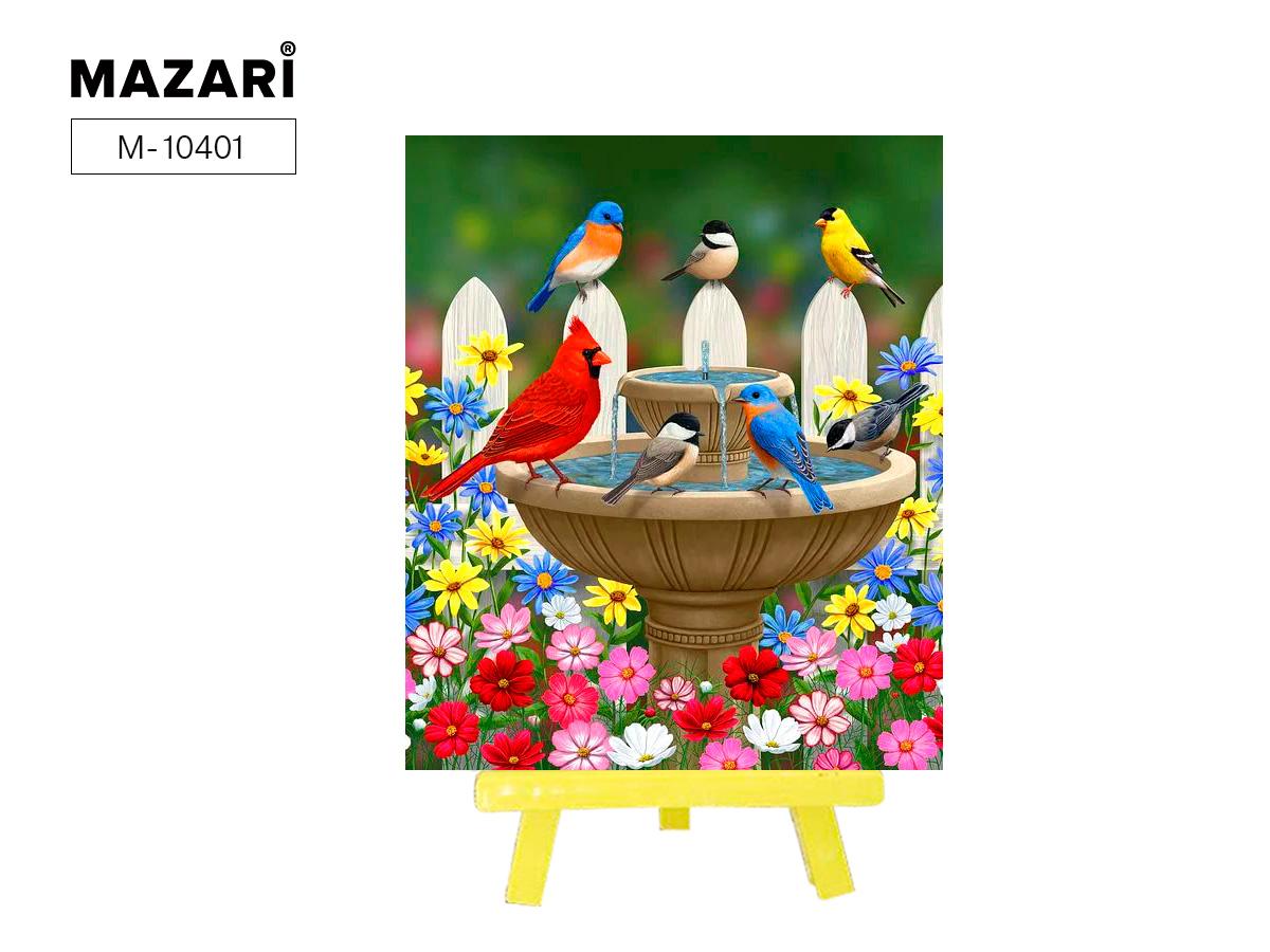 """Алмазная мозаика+мольберт 21*25см """"Птицы у фонтана"""" частичная выкладка"""
