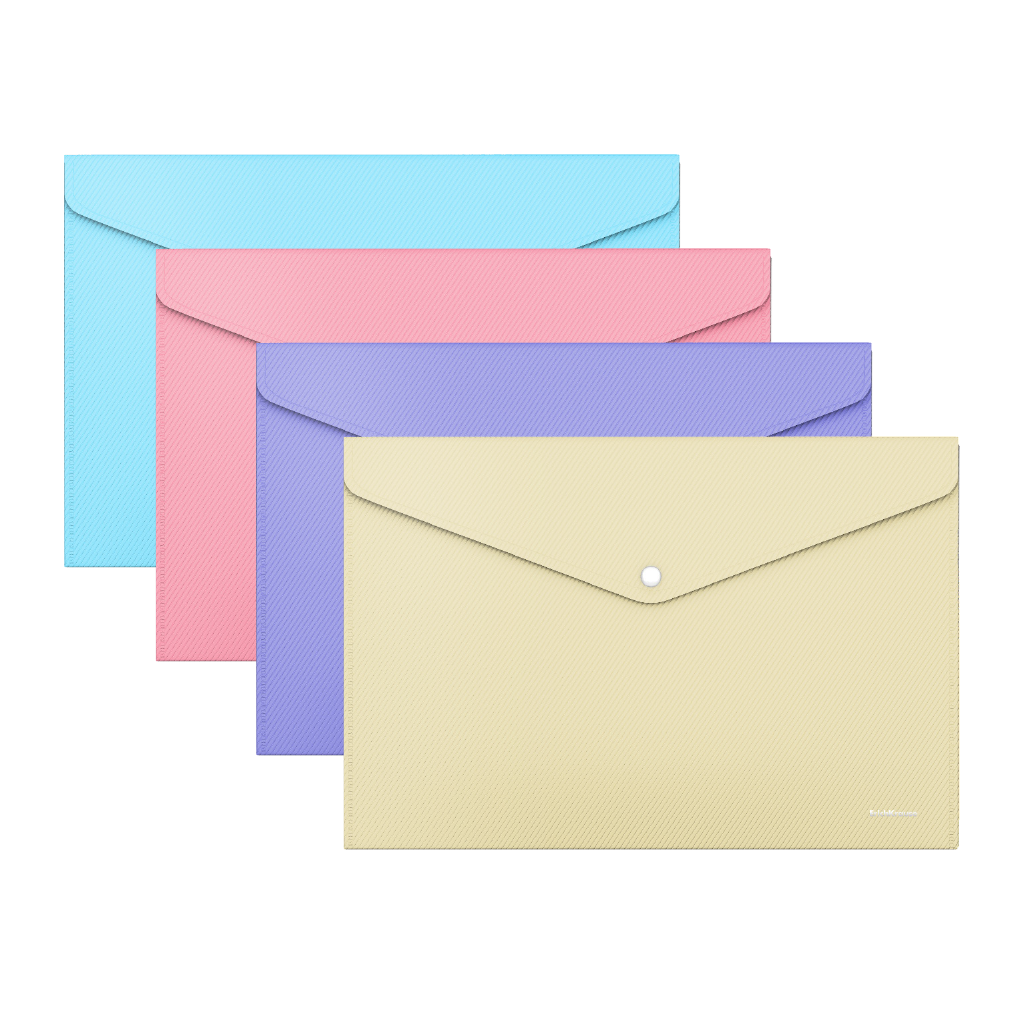 Папка конверт на кнопке ErichKrause Classic А4 0,18мм Diagonal Pastel непрозрачная ассорти