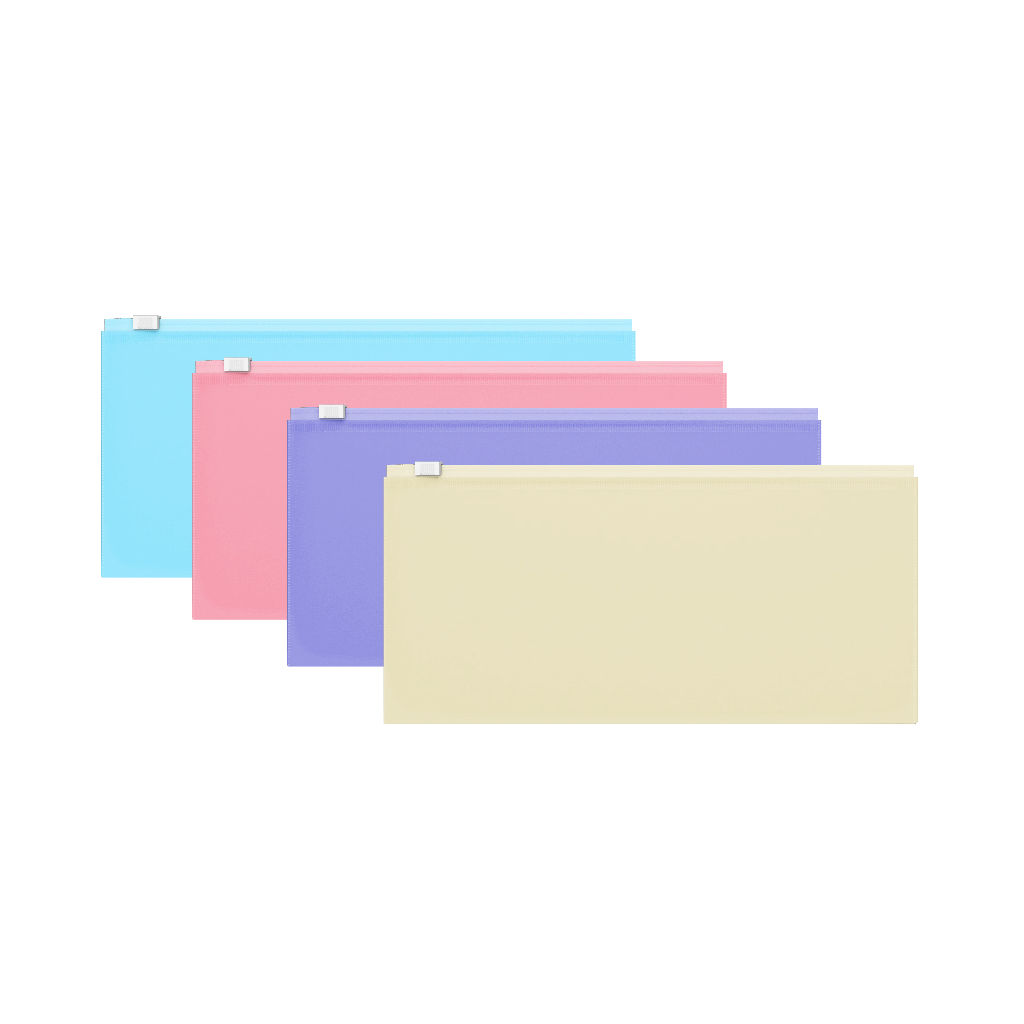 Папка конверт на молнии ErichKrause (255*130) 0,18мм Fizzy Pastel ассорти