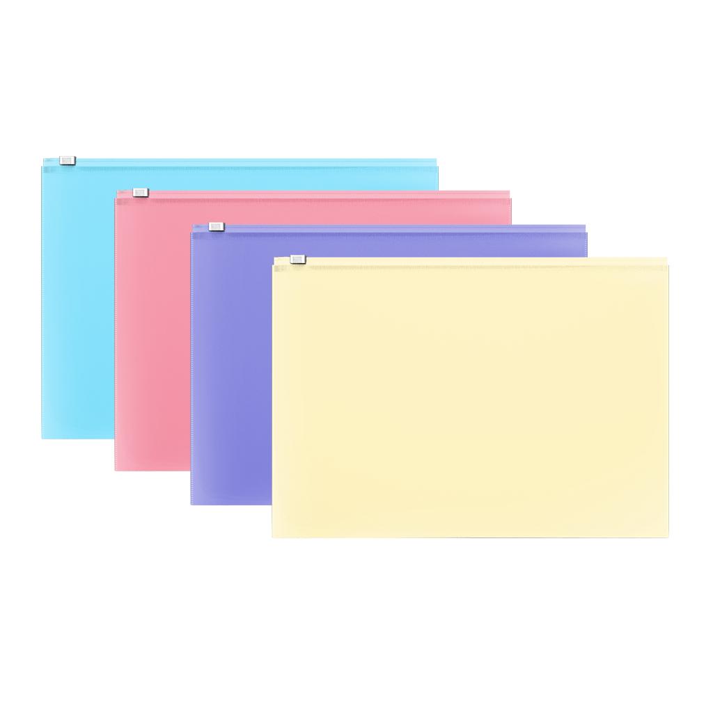 Папка конверт на молнии ErichKrause A4 0,18мм Fizzy Pastel ассорти